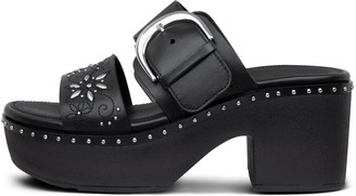 FitFlop Pilar Flower-Stud Leather Slide Platforms