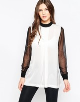 French Connection Lou Lou Satin Long Sleeve Top In Black