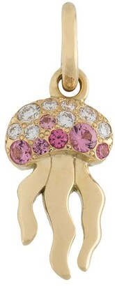 Dodo 18kt yellow gold More Hugs Please diamond and spinel octopus pendant