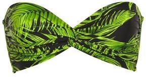 Norma Kamali Twist-front Printed Bandeau Bikini Top