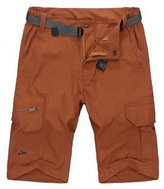 Chickle Men's Solid Flat Front Belt Twill Ligthweight Cargo Shorts