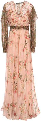 Alberta Ferretti Ruffled Layered Floral-print Chiffon Maxi Dress