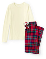 Lands' End Women's Petite Knit Flannel Sleep Set-Ivory Plaid