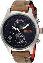 HUGO BOSS Men's 1550021 Sport 49mm/ Multi/ 5atm/ Ss Case/ Grey Leather Strap Watch