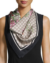 Gucci Floral-Print Guccissima Foulard Scarf, Black/Brown