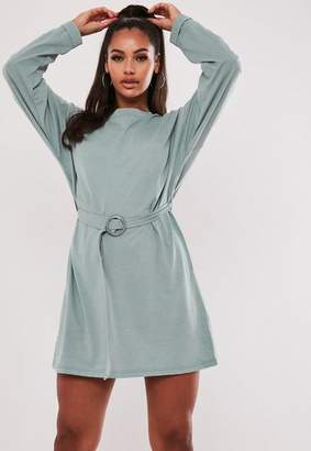 Missguided Mint Belted Long Sleeve T Shirt Dress