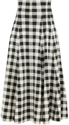 Norma Kamali Grace High-rise Gingham-neoprene Midi Skirt - Black White