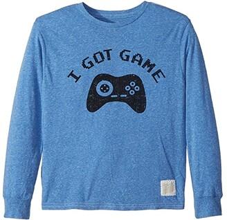 Original Retro Brand The Kids I Got Game Long Sleeve Tri-Blend Tee (Big Kids) (Streaky Blue) Boy's T Shirt