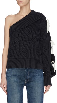 Hellessy One shoulder ribbon embellished rib knit sweater