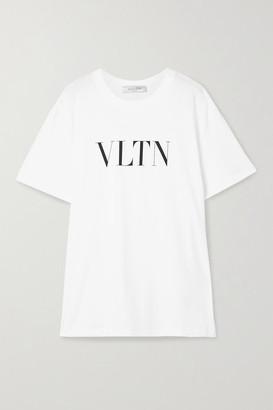 Valentino Oversized Printed Cotton-jersey T-shirt - White