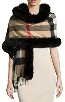 Burberry Fox-Fur-Trim Cashmere Mega-Check Scarf, Camel/Black