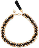 GUESS Gold-Tone and Imitation Suede Woven Bracelet