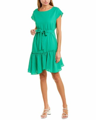 Vince Camuto Womens Short Sleeve Asymmetrical Ruffle Hem Belted Dress Emerald Leaf 6
