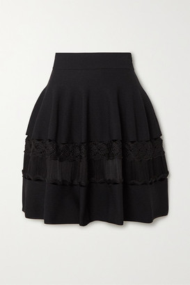 Alexander McQueen Crochet-paneled Ribbed Stretch-knit Mini Skirt - Black