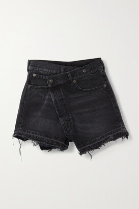 R13 - Crossover Asymmetric Distressed Denim Shorts - Black