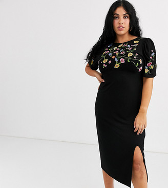 ASOS DESIGN Curve embroidered midi dress