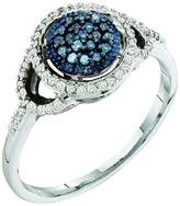 DazzlingRock Collection 0.25 Carat (ctw) 10K White Gold Round Blue & White Diamond Ladies Fashion Cocktail Right Hand Ring 1/4 CT