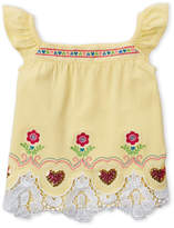 Flapdoodles Girls 4-6x) Embroidered Flutter Sleeve Top