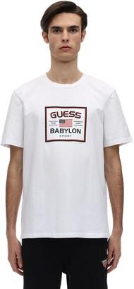 GUESS BABYLON LOGO COTTON BLEND T-SHIRT