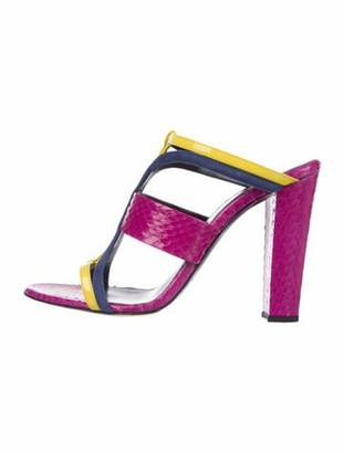Oscar de la Renta Patent Leather Animal Print T-Strap Sandals Purple