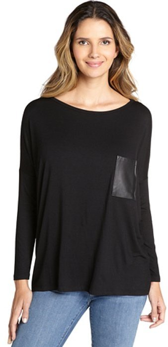 Wyatt black leather patch pocket long sleeve top