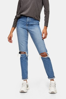 Topshop Womens Mid Blue Double Ripped Mom Tapered Jeans - Mid Stone