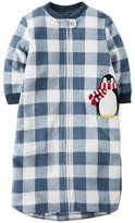 Carter's Baby Boy's 0-9 Months Checkered Penguin Fleece Sleepsack, Sleeper