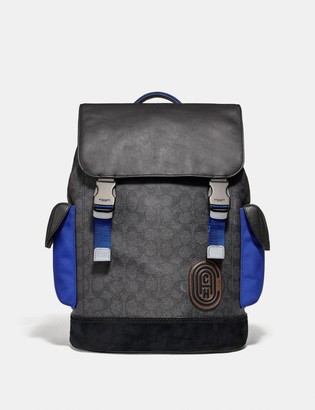 Coach Rivington Backpack In Signature Canvas With Patch