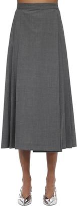 Maryam Nassir Zadeh Pleated Wool Blend Midi Skirt