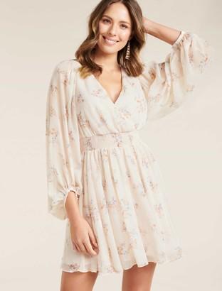 Forever New Peyton Blouson Sleeve Skater Dress - Apricot Blossom - 10