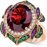 LeVian Le Vian Crazy Collection® Garnet (7-5/8 ct. t.w.) and Multi-Stone Round Flower Ring in 14k Rose Gold