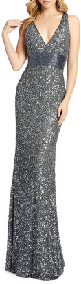 Mac Duggal Sequin V-Neck Empire-Waist Sleeveless Column Gown
