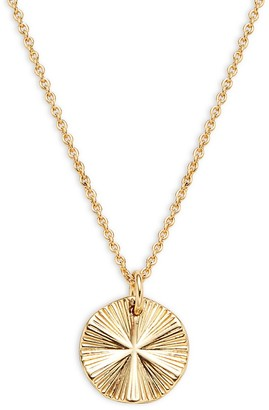 Ava & Aiden Goldtone Crystal Disc Pendant Necklace