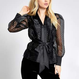 River Island Womens Black polka dot tie belted organza shirt