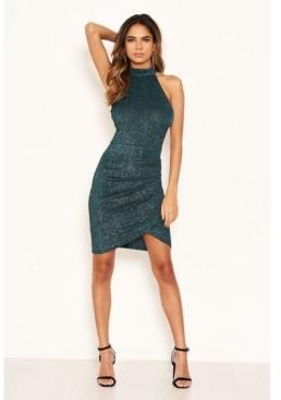 AX Paris Women's Sparkle High Neck Ruched Dress