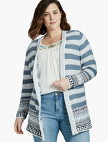 Lucky Brand Geo Border Cardigan