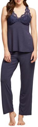 Fleurt Lace-Trim Camisole Pajama Set
