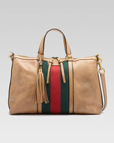 Gucci Rania Leather Top Handle Bag, Classic Khaki