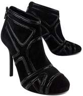 Tory Burch Black Suede & Patent Leather Geo Boots