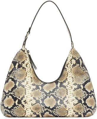 BY FAR Beige and Black Snake Amber Shoulder Bag