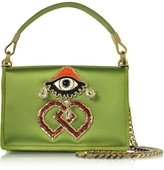 DSQUARED2 Green Satin and Suede Shoulder Bag