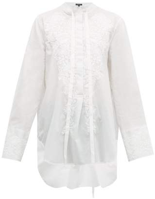 Ann Demeulemeester Floral-embroidered Cotton Shirt - Womens - Ivory