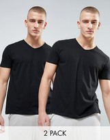 Emporio Armani Cotton V-neck T-shirts 2 Pack In Regular Fit
