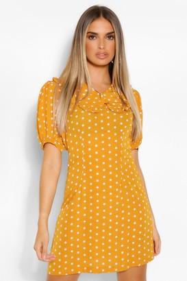 boohoo Polka Dot Collared Short Sleeve Mini Dress