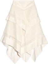 Wes Gordon Asymmetric lace-trimmed silk and wool-blend gauze skirt