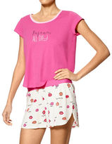 Hue Two-Piece Solid Tee & Printed Tulip Shorts Set