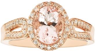Boston Bay Diamonds 14k Rose Gold Morganite & 1/5 Carat T.W. Diamond Oval Ring