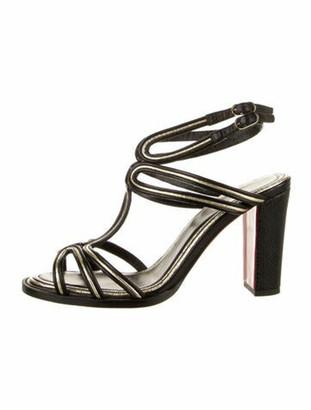 Christian Louboutin Zenobissima 85 Leather T-Strap Sandals Black