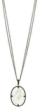 Freida Rothman Industrial Finish Double Chain Mother-of-Pearl Pendant Necklace in Rhodium-Plated Sterling Silver, 30