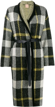 Nude belted checked coat